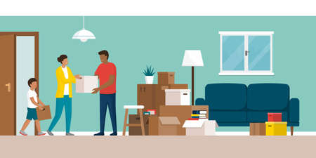 Happy family moving in their new home and carrying boxes inside, home relocation concept Vektorgrafik