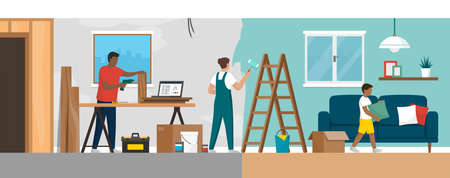 Home renovation process: family doing a DIY home makeover together Ilustração
