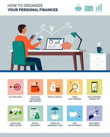 How to organize your personal finances: financial management tips with icons set Illusztráció