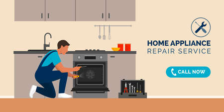 Expert repairman fixing a broken oven in a kitchen, home appliance repair service concept Vektorové ilustrace