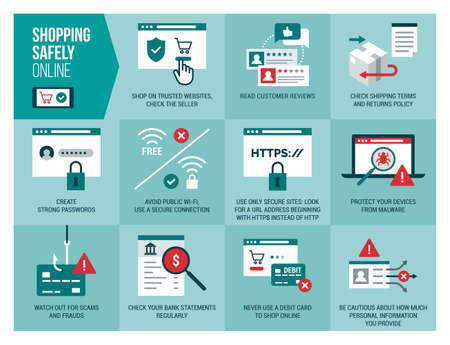 Shopping safely online infographic: safety and cyber security tips for secure orders and transactions Illusztráció