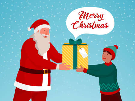 Santa Claus giving a Christmas gift to a boy and snow falling, Christmas card