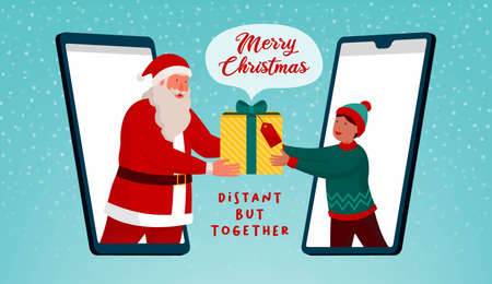 Happy Santa Claus giving a virtual gift to a boy on a video call on smartphone, distant but together Christmas card