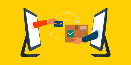 Online shopping and express delivery on a e-commerce website: customer paying with a credit card and seller giving a delivery box