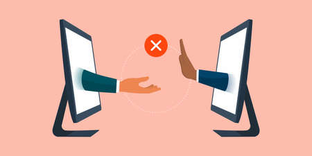 Businessman rejecting an offer during a virtual meeting, business relationships and communication concept