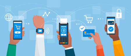 Electronic payments and secure transactions: people paying using mobile devices and credit card