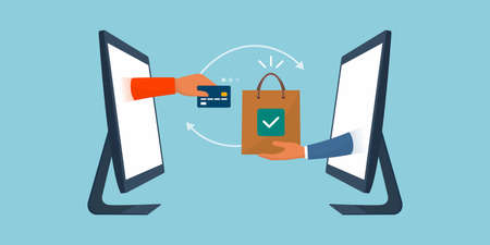 User purchasing an item and seller giving a shopping bag, online shopping and electronic payments concept