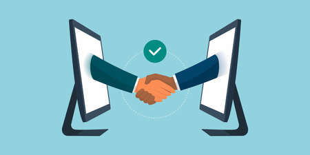 Business people giving a virtual handshake, business agreement and remote working concept