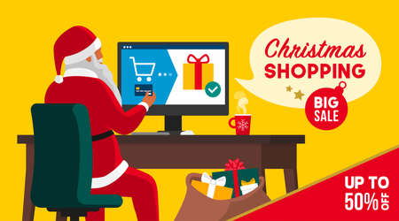 Santa claus and Christmas shopping offers: he is buying gifts online, sales and discounts banner