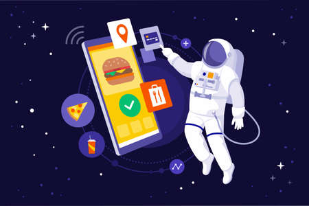 Astronaut floating in space and ordering fast food using a huge smartphone 向量圖像