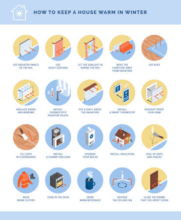 How to keep your house warm in winter icons set, energy saving and home insulation concept 矢量图像