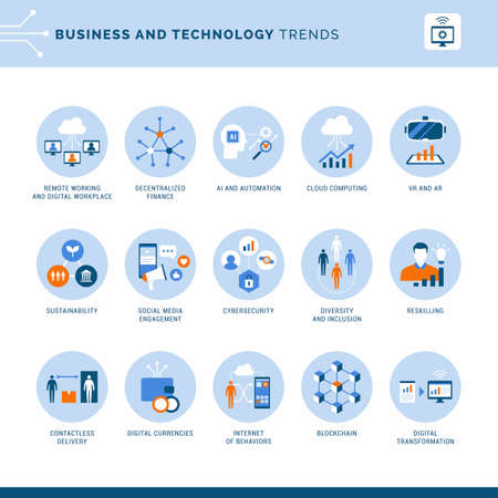 Business, communication and finance innovative tech trends, icons set