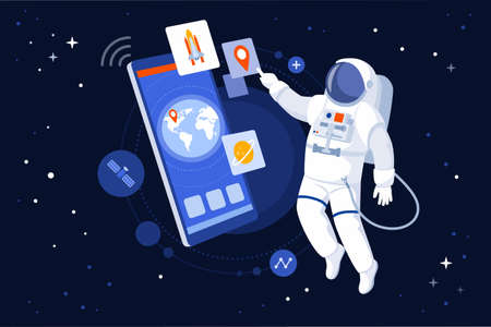 Astronaut floating in outer space and using GPS navigation on his smartphone 向量圖像