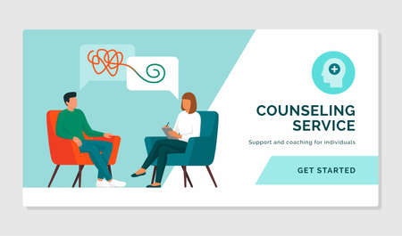Patient meeting a counselor and talking together, mental health and support concept Ilustração
