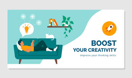 Boost your creativity and improve your thinking skills: healthy lifestyle and focus concept Ilustração