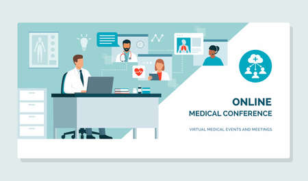 Doctor joining a virtual medical conference and talking with healthcare experts, they are sharing medical records and discussing together, telehealth concept