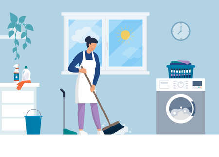 Woman cleaning up her house, household chores concept