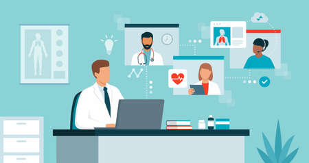 Doctor connecting online and talking with other healthcare professionals on a video conference call, virtual medical conference and telemedicine concept Ilustração