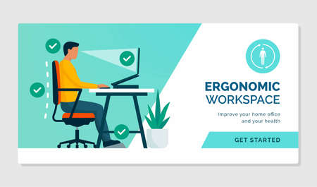 Ergonomic workspace: sitting at desk with proper posture and office equipment