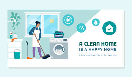 A clean home is a happy home: chores and home cleaning concept