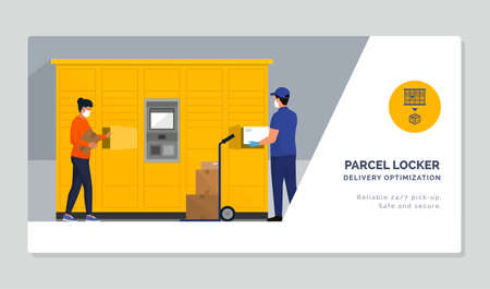 Parcel delivery locker and smart delivery: people collecting boxes Ilustração
