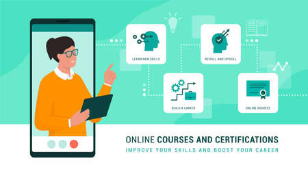 Online professor presenting online courses and services on the e-learning platform Ilustração