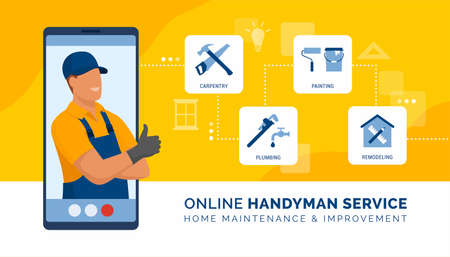 Professional handyman on a video call presenting his services and giving online consultation on carpentry, plumbing, painting and remodeling Ilustração