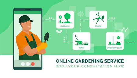 Professional gardener on a video call giving advice and presenting his gardening services
