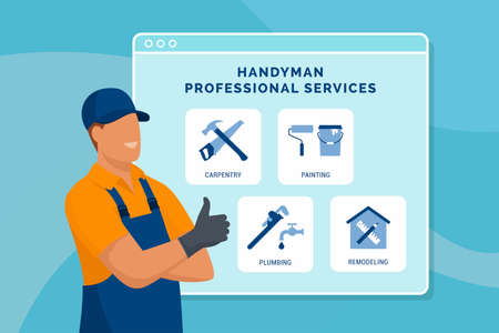 Professional handyman presenting his services and giving a thumbs up Ilustração