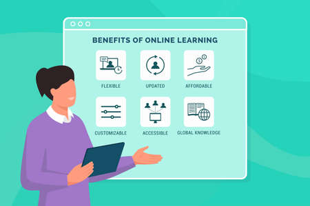 Benefits of online learning: professor presenting the advantages of virtual education
