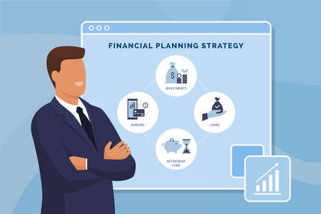 Financial planning strategy and online banking infographic with financial advisor