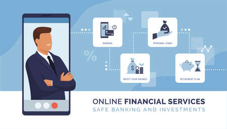 Online financial advisor and online banking: bank account, investments, loans and retirement plan Ilustração