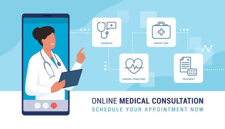 Online doctor video calling on a smartphone and presenting virtual consulting services: diagnosis, chronic conditions and illness treatment, urgent care