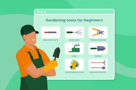 Professional gardener giving tips: essential gardening tools for beginners 向量圖像