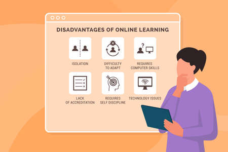 Disadvantages of online learning: professor thinking about the negative aspects of virtual education