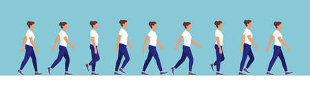 Female character walk cycle sequence side view