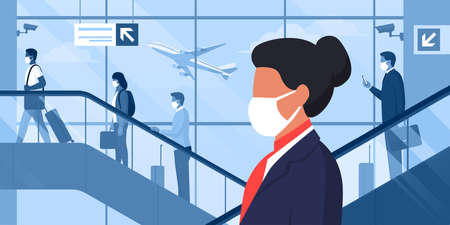 Professional air hostess with face mask at the airport and passengers with luggage in the background