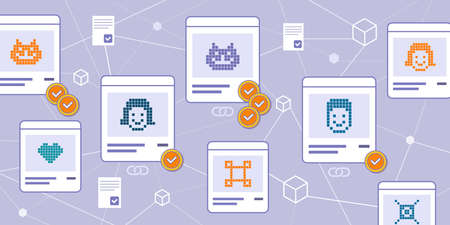NFT marketplace with cryptoart items on sale and blockchain in the background