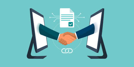 Anonymous business people accepting and executing a smart contract, they are connecting and shaking hands