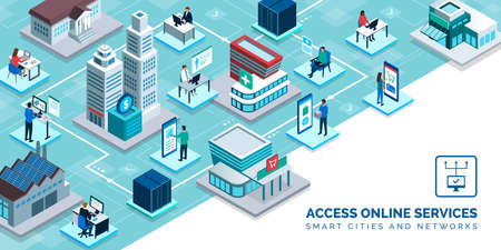 Smart city and online services: healthcare, retail, finance, industry, education