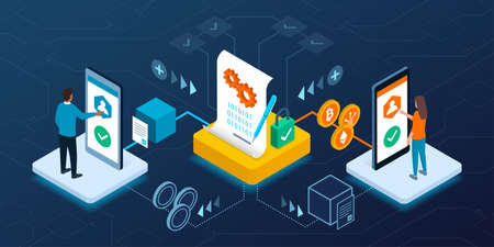 Smart contract execution on blockchain, users are exchanging assets and cryptocurrency, finance and technology concept Ilustração