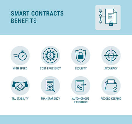Smart contracts on blockchain benefits, technology and finance concept, icons set Ilustração