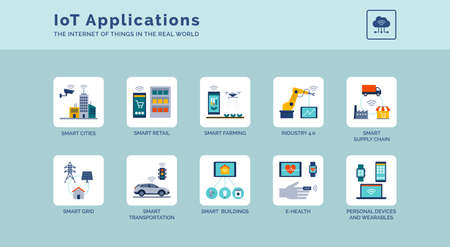 IoT applications and solutions in real world icons set: smart cities, industry 4.0 and connected devices