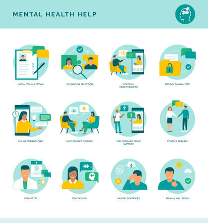 Mental health help and therapy icons set: online therapist, face-to-face therapy and professional assistance