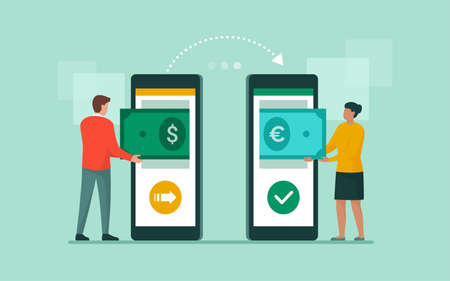 International money transfer and currency exchange on banking app