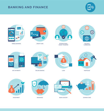 Online banking and financial services icons set