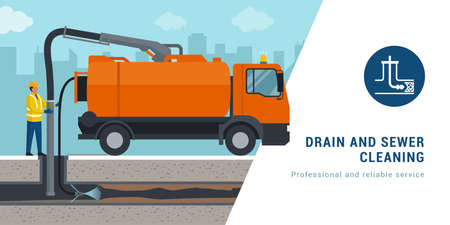 Professional sewer cleaning service: worker cleaning a sewer line
