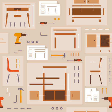 Furniture assembly and DIY pattern with tools