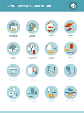Home renovation and repair icons set with tools, DIY and professional services