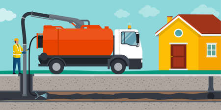 Professional sewer cleaning service: worker cleaning a sewer line and removing obstructions